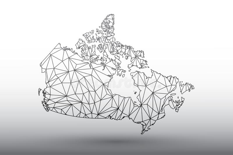 Canada map vector of black color geometric connected lines using triangles on light background illustration meaning strong network. Canada map vector of black stock illustration