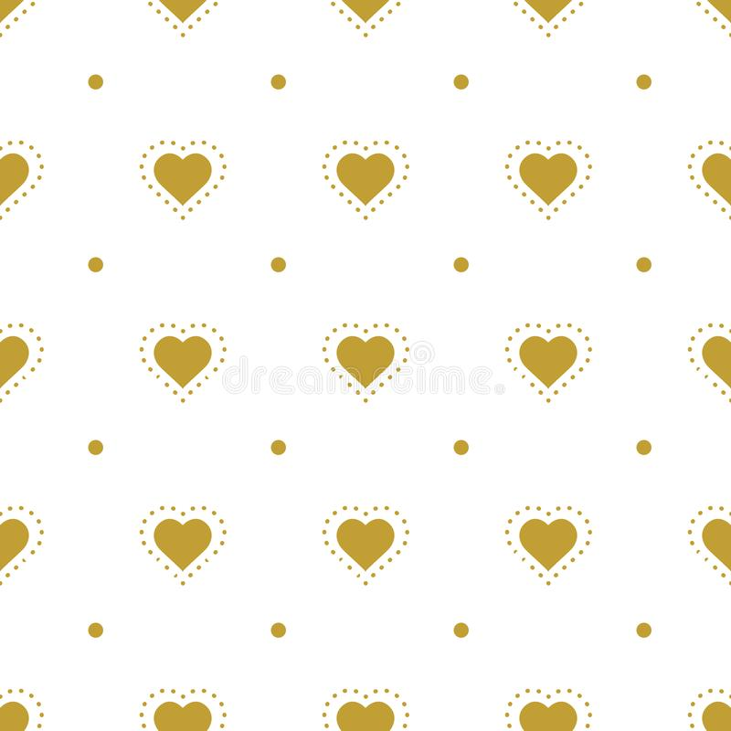Background with golden hearts. Vector seamless graphic design for web, print use, wrapping paper. Valentine Day illustration stock illustration