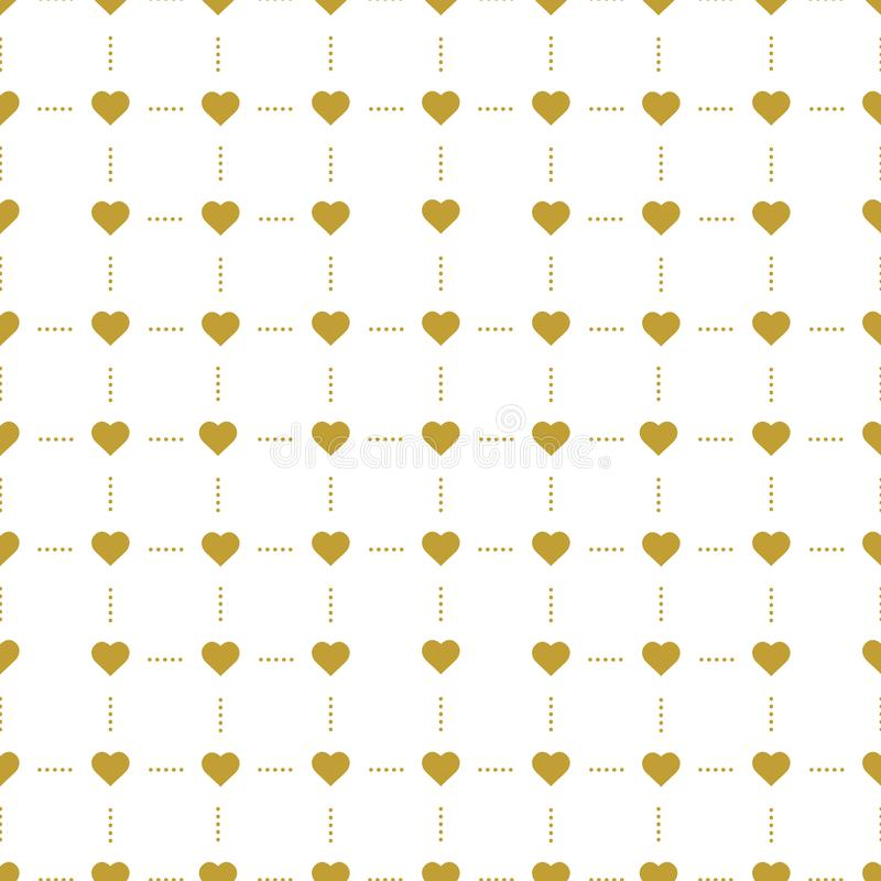 Background with golden hearts. Vector seamless graphic design for web, print use, wrapping paper. Valentine Day illustration royalty free illustration