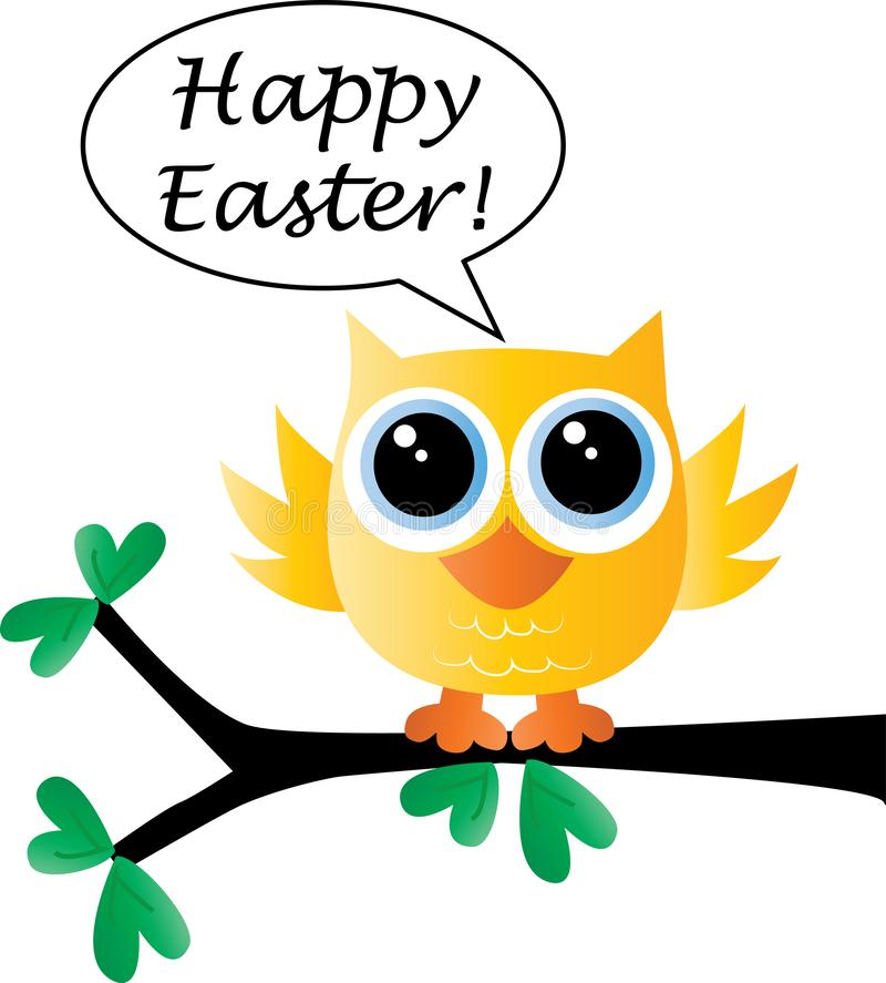 Happy easter a sweet little bird sitting on a branch stock illustration