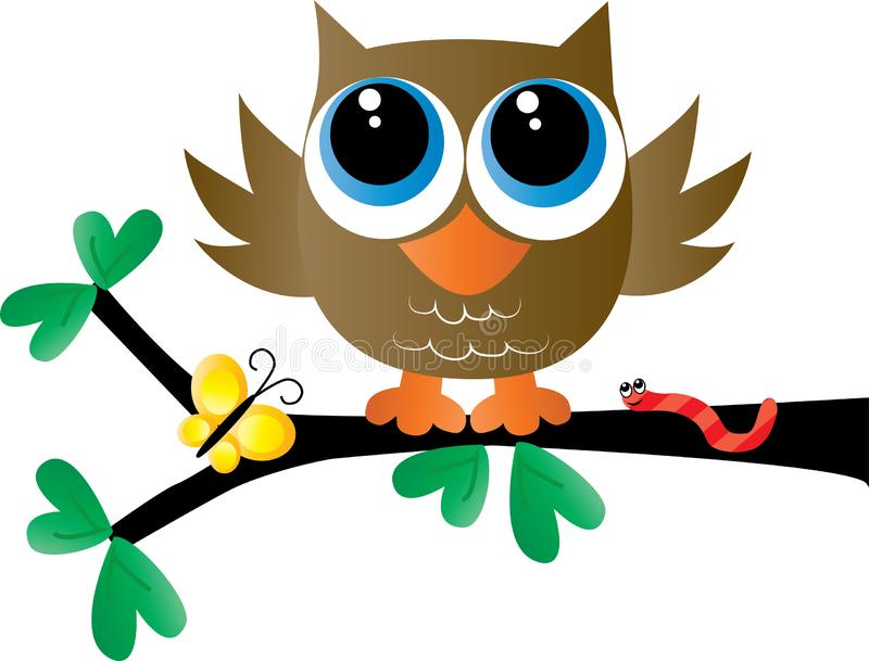 A sweet little brown owl sitting on a branch royalty free illustration