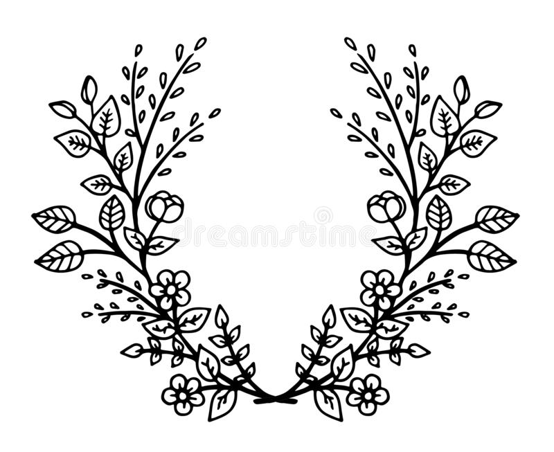Decorative frame composition with, flowers, ornate elements in doodle style. Floral, ornate, decorative design elements stock illustration