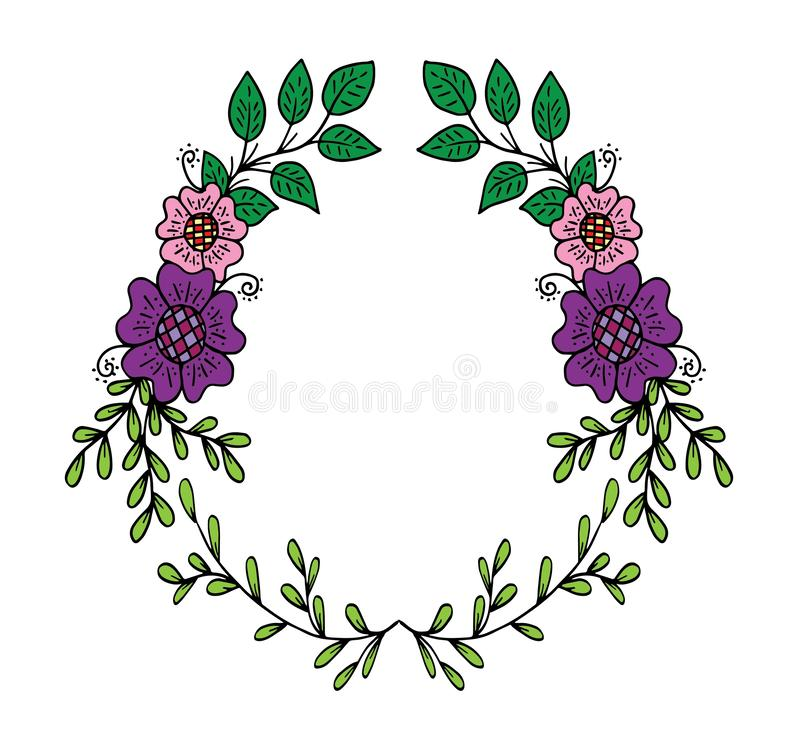 Decorative frame composition with, flowers, ornate elements in doodle style. Floral, ornate, decorative design elements vector illustration