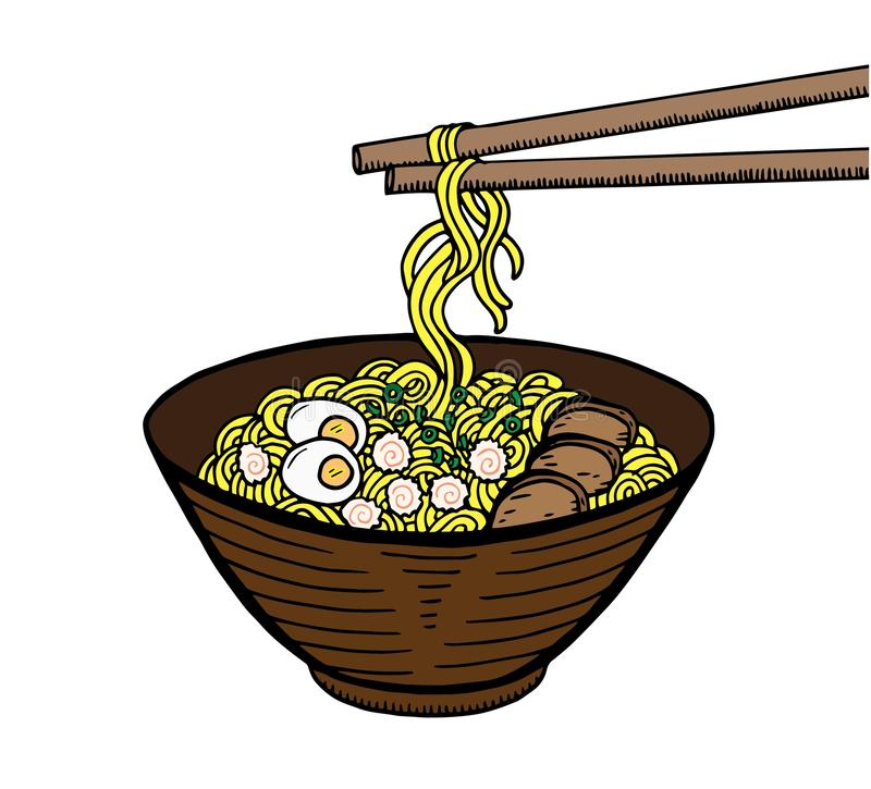 Hand drawn Japanese food sketch Illustration. Retro style. Sushi bar. Miso soup. Ramen stock illustration
