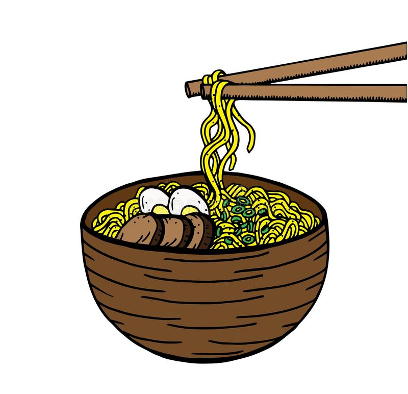 Hand drawn Japanese food sketch Illustration. Retro style. Sushi bar. Miso soup. Ramen vector illustration