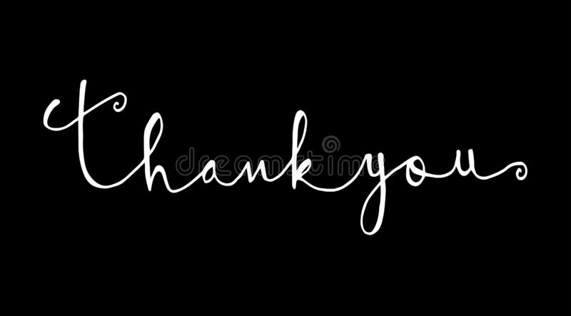 Black and white Thank you text, handwritten. Calligraphy lettering royalty free illustration