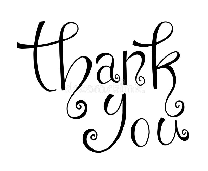 Black and white Thank you text, handwritten. Calligraphy lettering stock illustration