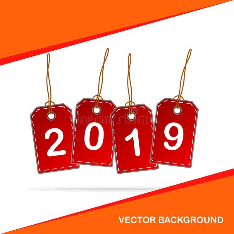 2019 with Red tags, Business, Sales Concept. vector illustration stock illustration