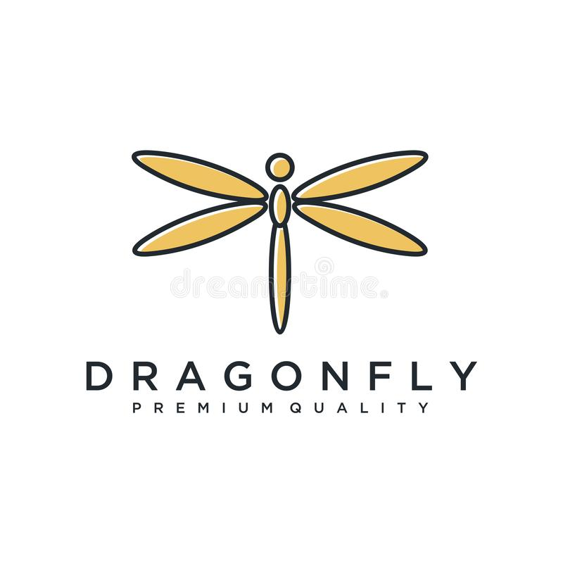 Unique dragonfly logo template. simple shape and color. vector. editable. Minimalist elegant Dragonfly logo design with line art s vector illustration