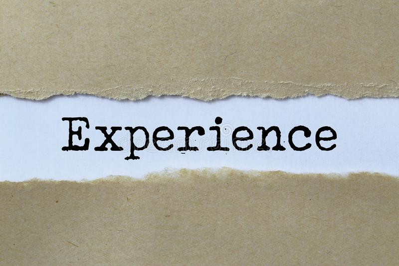 Experience heading. Typed experience heading under ripped paper royalty free illustration