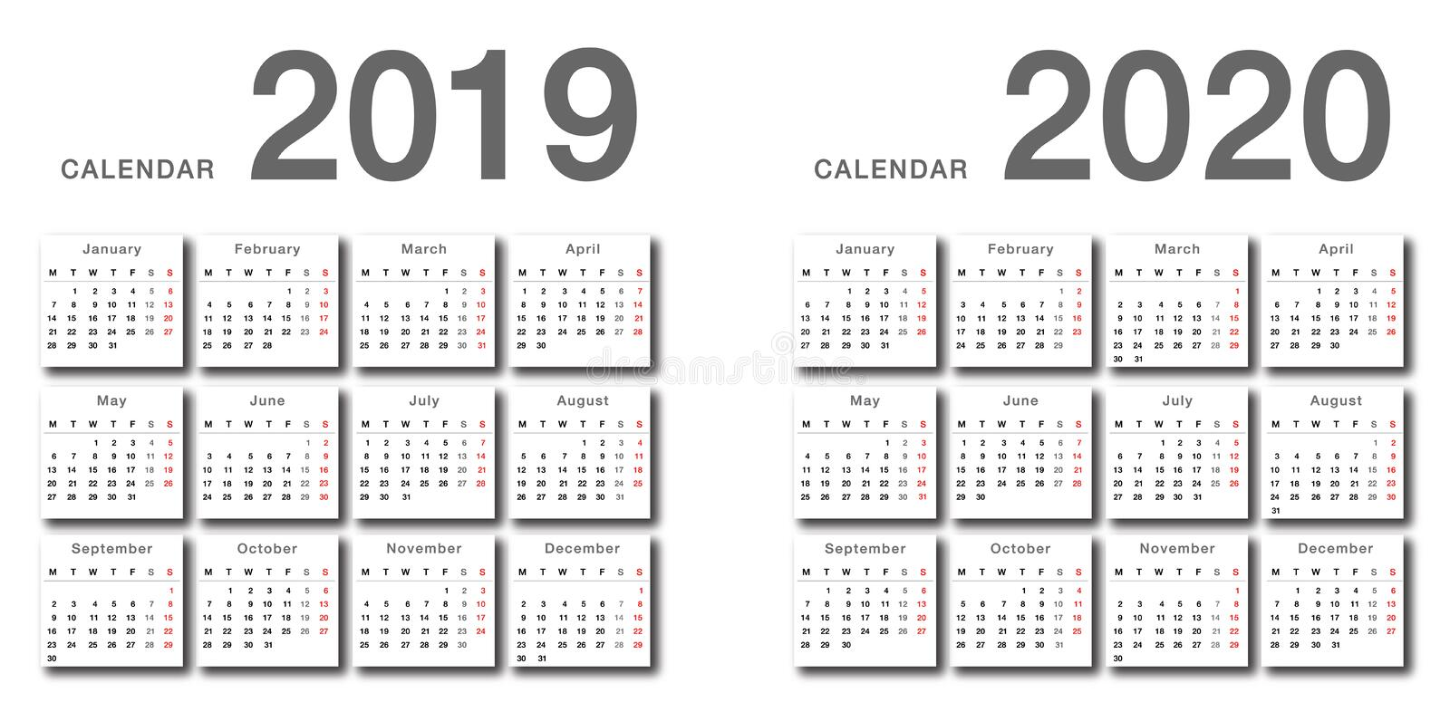Year 2019 and Year 2020 calendar horizontal vector design template, simple and clean design. royalty free illustration