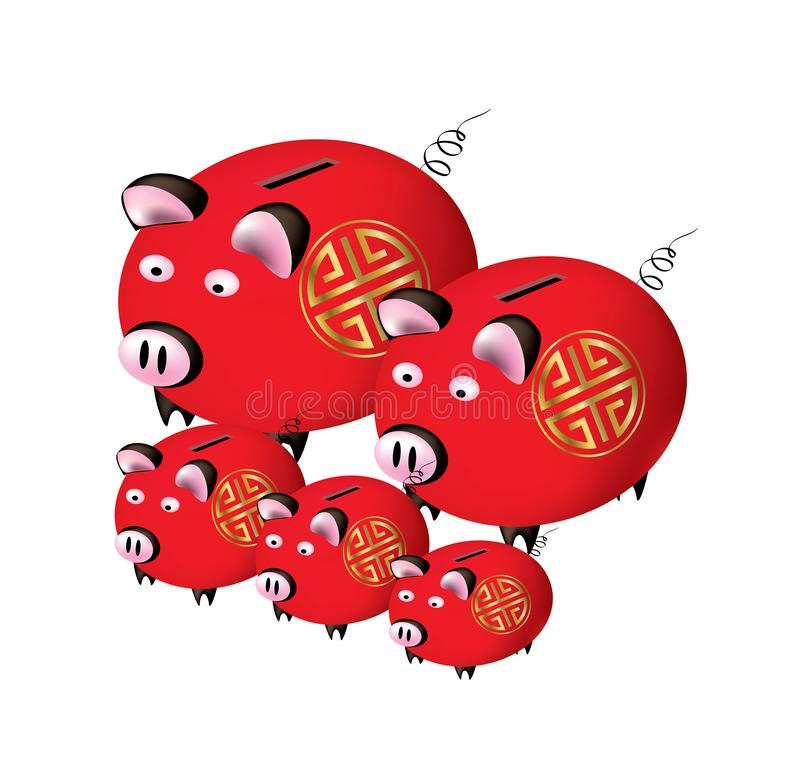 Chinese New Year - Year of the pig. Group of Chinese New year Piggy banks on white background - Year 2019 vector illustration
