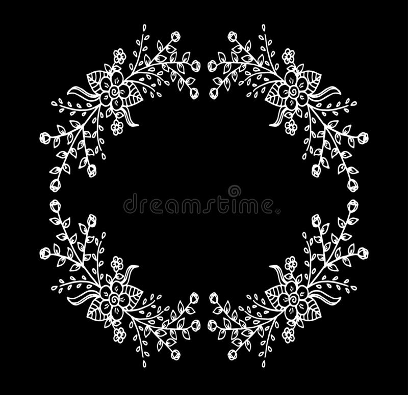 Decorative frame composition with, flowers, ornate elements in doodle style. Floral, ornate, decorative design elements royalty free illustration