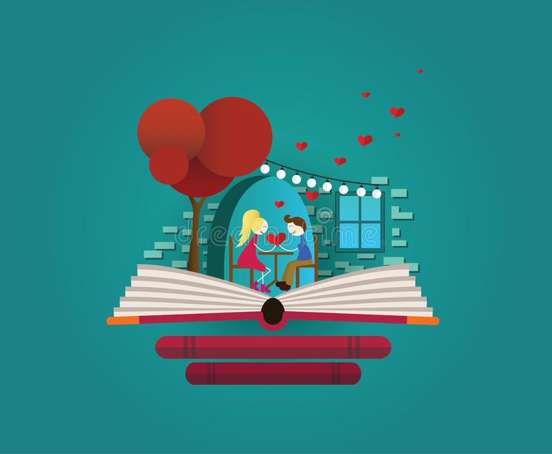 Love story in restaurant on the open book. royalty free illustration