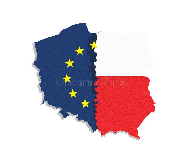 Polexit. Map /flag of Poland and European Union / EU separated from eatch other. royalty free illustration