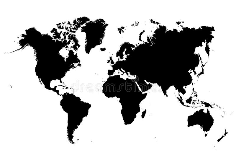 Black and white very detailed map of the whole world. Map of a world. flat on isolated background. Black easy to edit vector very detailed. Vector globe vector illustration