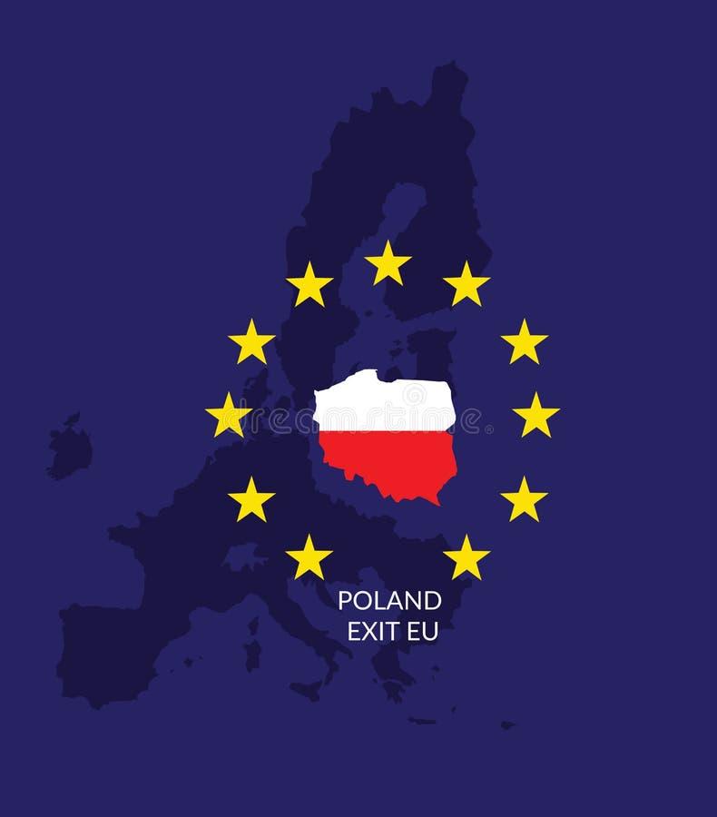 Poland exit EU. Map of the poland on the european union map. royalty free illustration