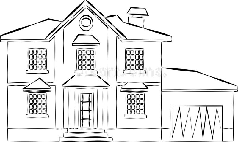 House or apartments. Family american townhouse. Neighborhood with cozy homes. Traditional Modern cottage for infographics or appli. Cation interface. Building stock illustration