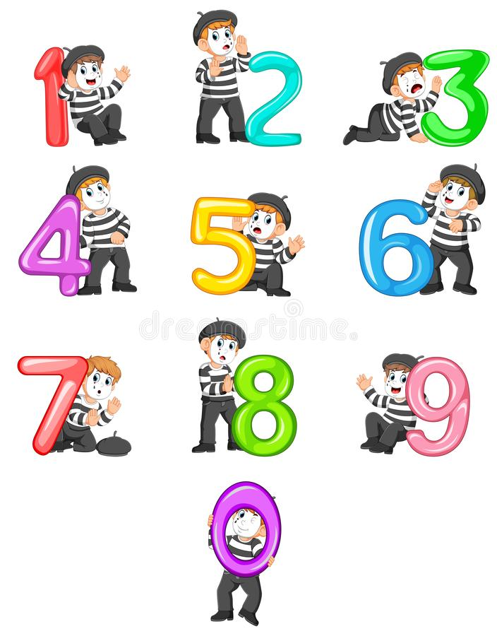 The collection of the little pantomime boy with the 0 - 9 balloon number with the different posing. Illustration of the collection of the little pantomime boy stock illustration