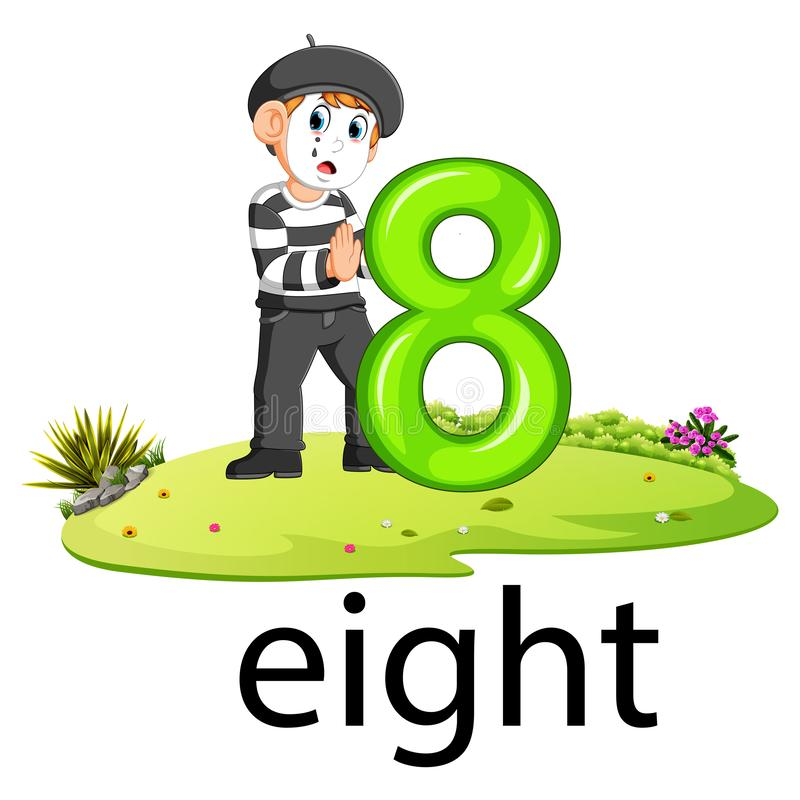 Little pantomime boy act with the 8 balloon number and text with different posing. Illustration of little pantomime boy act with the 8 balloon number and text vector illustration