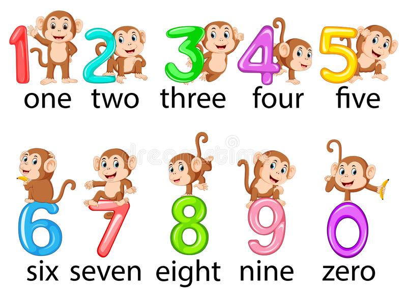 The collection of the number with the monkey beside with the different posing. Illustration of the collection of the number with the monkey beside with the royalty free illustration