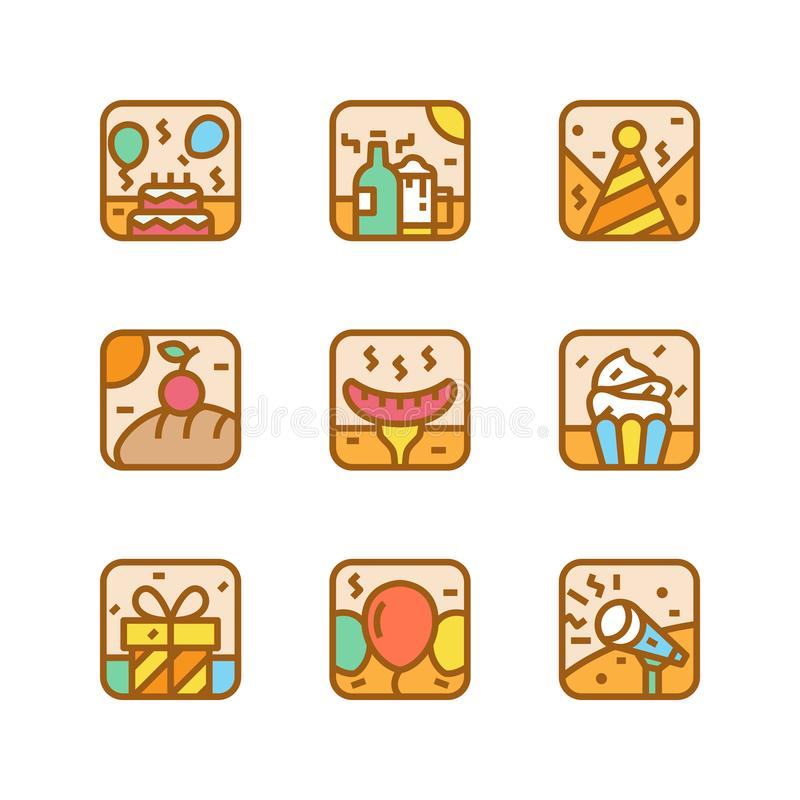 Party icon illustration set with birthday cake and hat vector design element template stock illustration