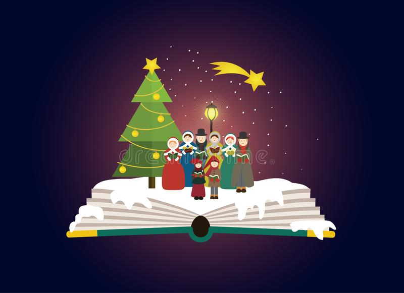 Group of carolers singing outside in the christmas time. royalty free illustration