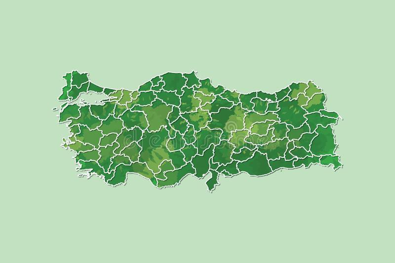 Turkey watercolor map vector illustration of green color with border lines of different provinces on light background using paint. Brush in page royalty free illustration