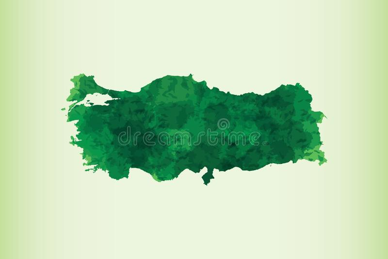 Turkey watercolor map vector illustration in dark green color on light background using paint brush on page royalty free illustration