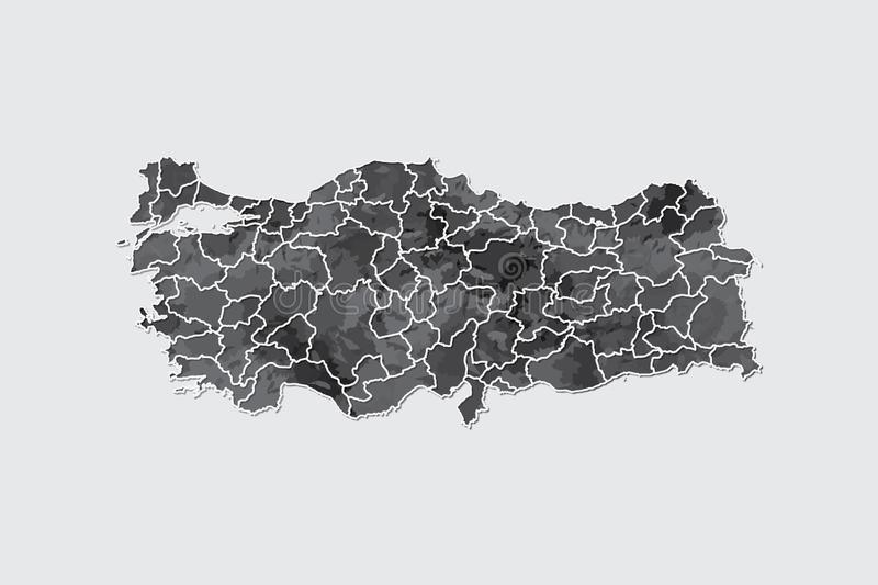 Turkey watercolor map vector illustration in black color with border lines of different provinces on light background using paint. Brush on page stock illustration
