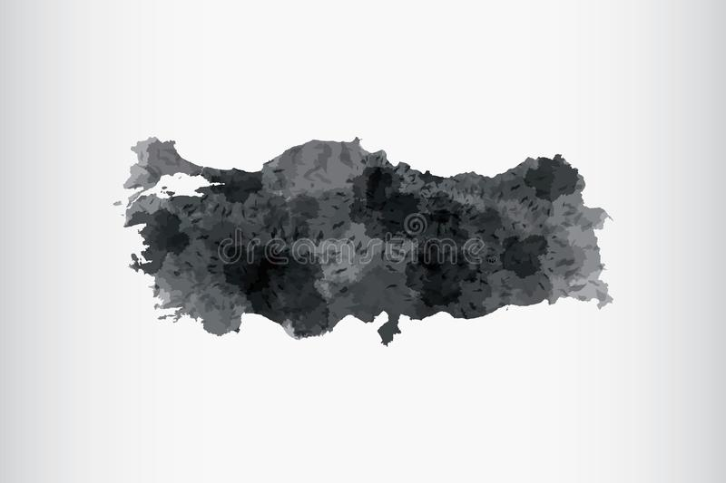 Turkey watercolor map vector illustration in black color on light background using paint brush on paper page stock illustration