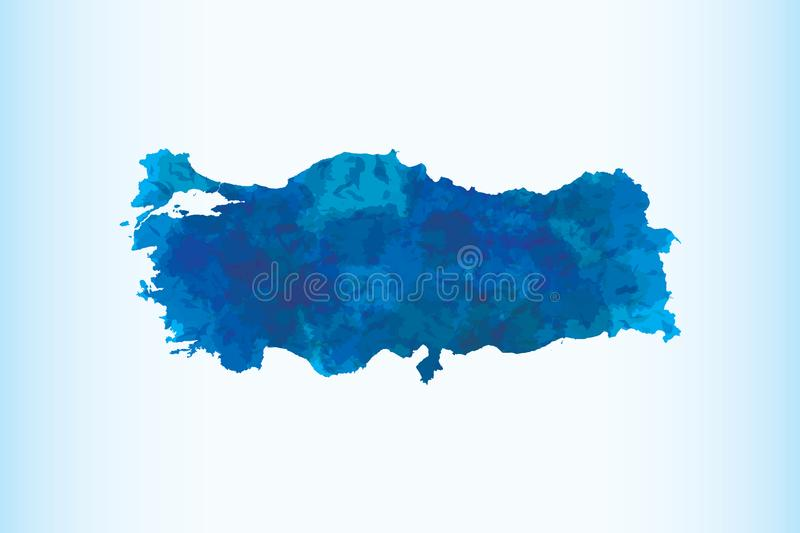 Turkey watercolor map vector illustration in dark blue color on light background using paint brush on paper page vector illustration