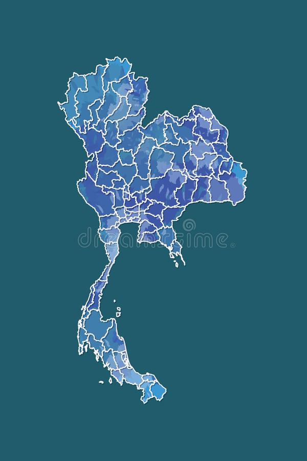 Thailand watercolor map vector illustration in blue color with border lines of different provinces on dark background using paint. Brush on page stock illustration
