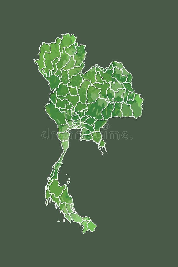 Thailand watercolor map vector illustration of green color with border lines of different provinces on dark background using paint. Brush in page vector illustration