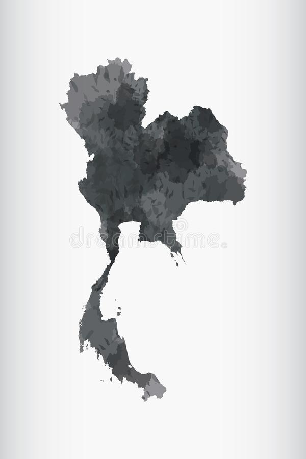 Thailand watercolor map vector illustration in black color on light background using paint brush on paper page royalty free illustration