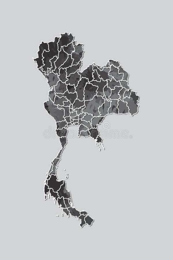 Thailand watercolor map vector illustration of black color with border lines of different provinces on light background. Using paint brush in page stock illustration