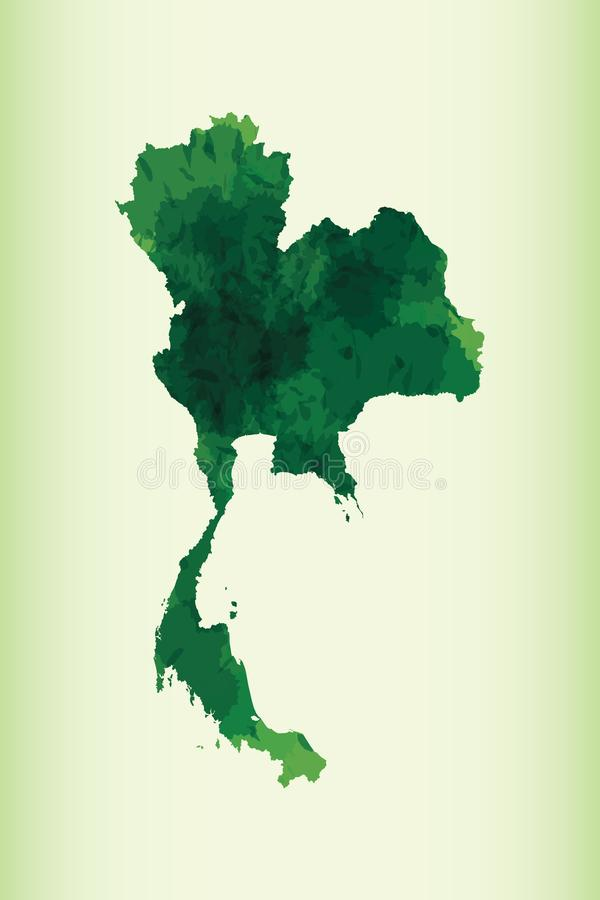 Thailand watercolor map vector illustration of dark green color on light background using paint brush in paper page royalty free illustration