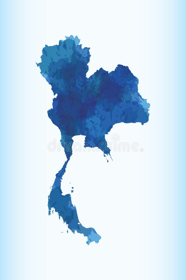 Thailand watercolor map vector illustration in dark blue color on light background using paint brush on paper page vector illustration