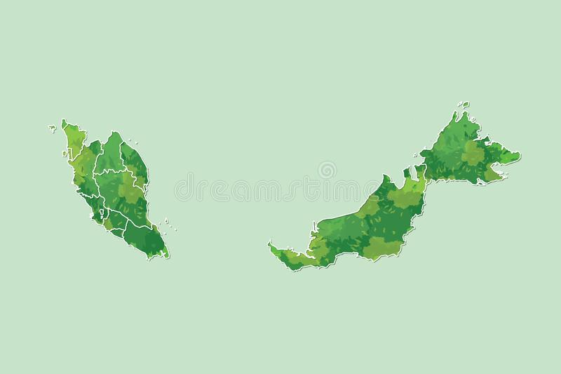 Malaysia watercolor map vector illustration of green color with border lines of different states on light background using paint royalty free illustration