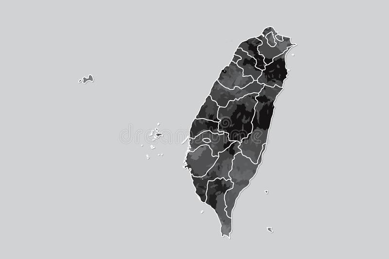 Taiwan watercolor map vector illustration of black color with border lines of different counties on light background using paint. Brush in page stock illustration