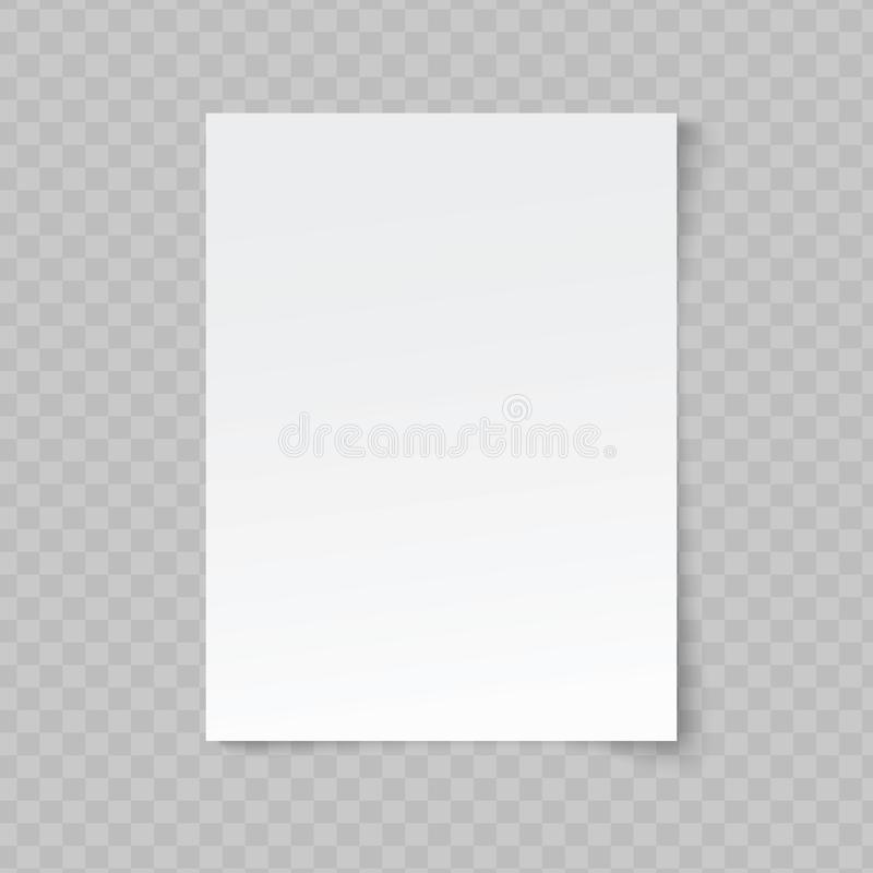 Vector A4 format gently crumpled paper with shadow on transparent background stock illustration
