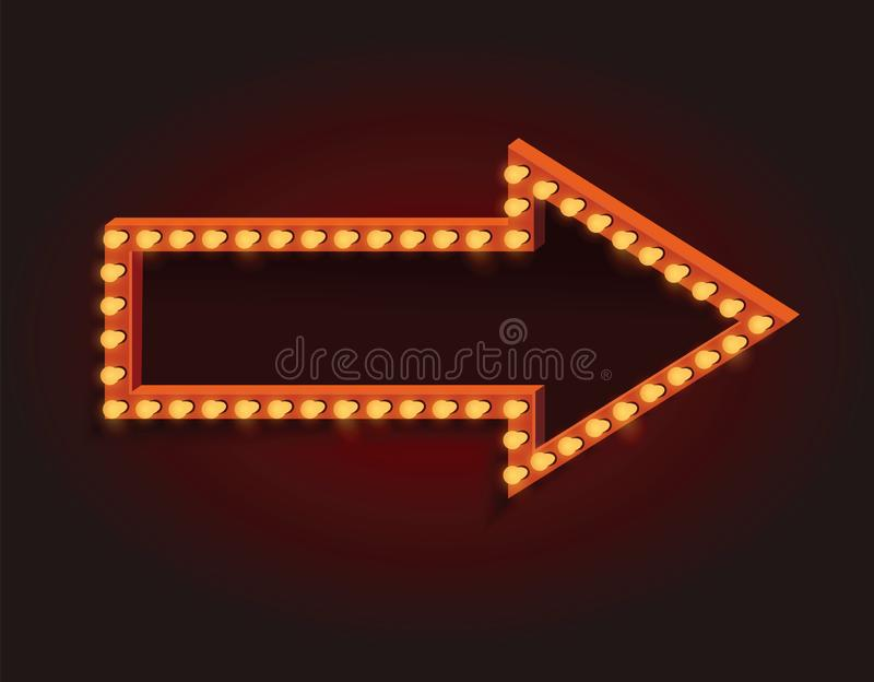 Vector arrow with light bulbs and space for your design. - Illustration royalty free illustration