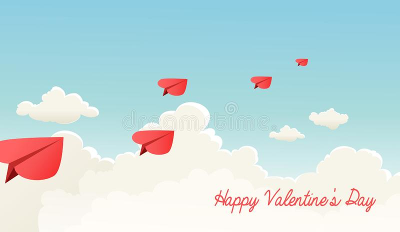 Heart shaped paper airplanes flying over fluffy clouds. royalty free illustration