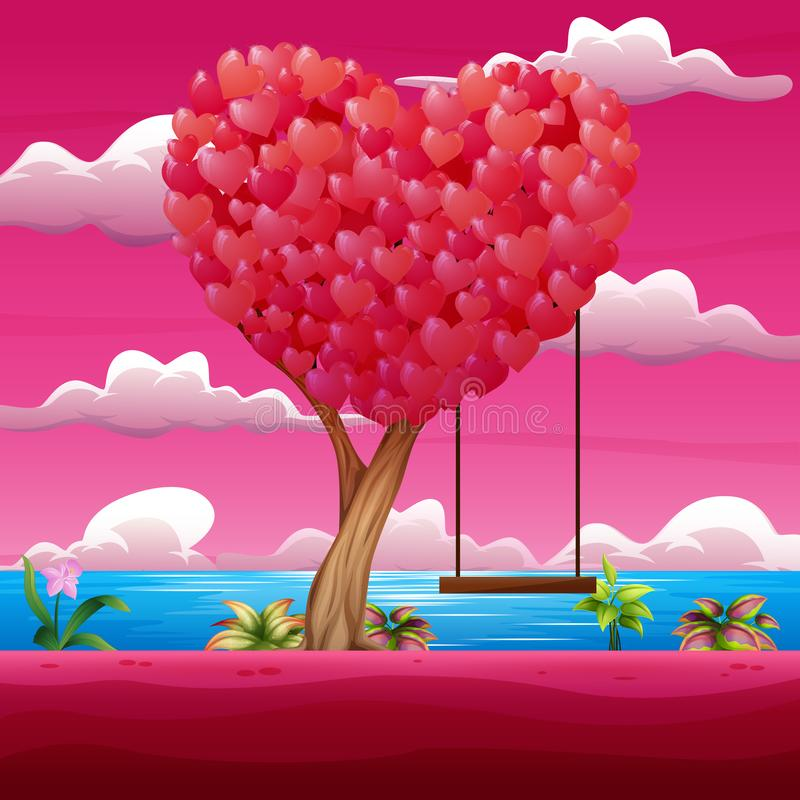 Happy valentine day with heart tree and swing. Illustration of Happy valentine day with heart tree and swing vector illustration