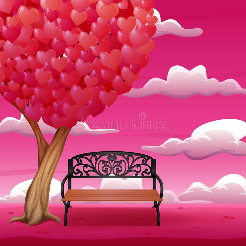Cartoon chair with big tree and heart shaped leaves vector illustration