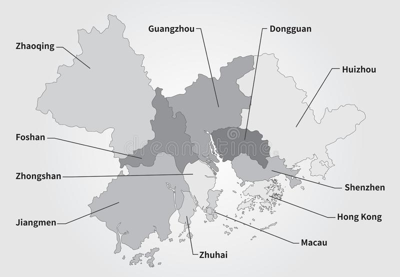 China Greater Bay Area Map in gray royalty free illustration
