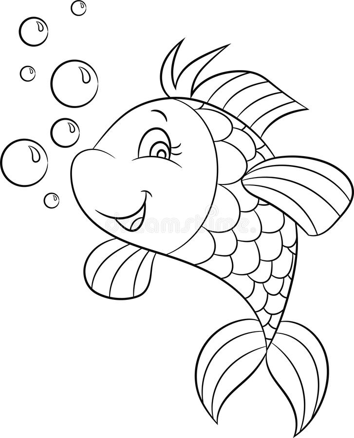 Black and white illustration of a cute fish, smiling, with bubbles, perfect for children`s coloring book or coloring game stock illustration