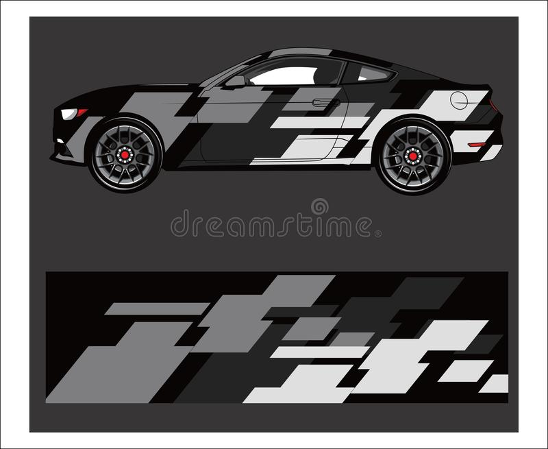 Car wrap. Abstract strip for racing car wrap, sticker, and decal. royalty free illustration