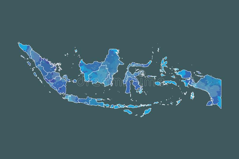 Indonesia watercolor map vector illustration of blue color with border lines of different provinces or divisions on dark. Background using paint brush in page stock illustration