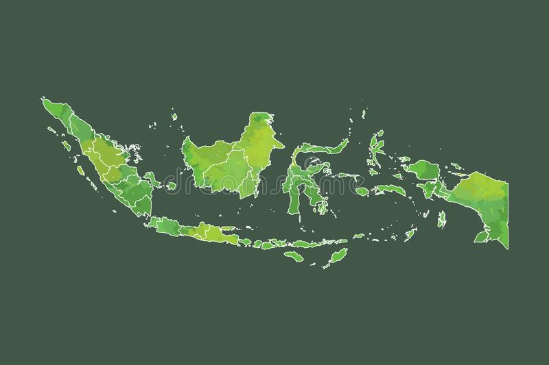 Indonesia watercolor map vector illustration of green color with border lines of different provinces or divisions on dark. Background using paint brush in page royalty free illustration